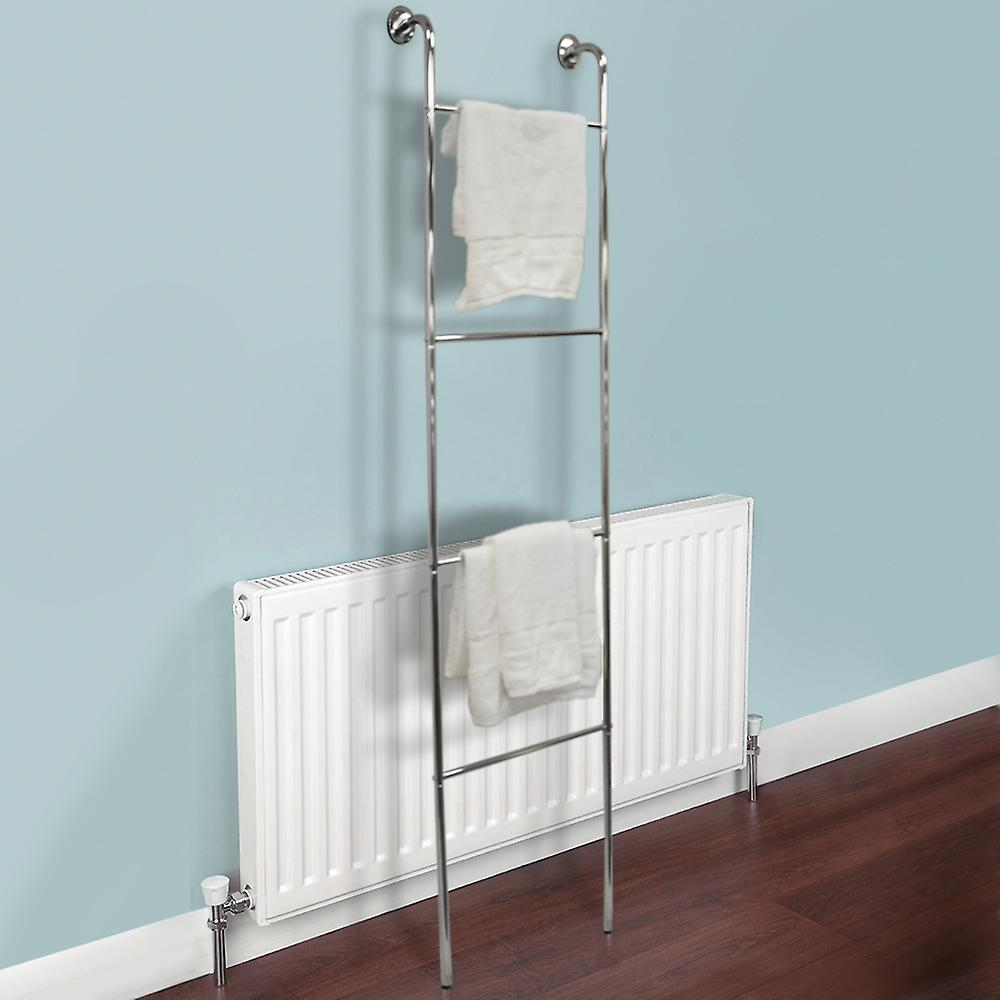 Ladder - Chrome Wall Mounted 4 Rung Towel Rail - Silver