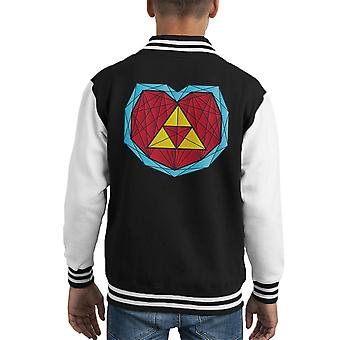 Zelda Hyrule Heart Container Polygon Stainglass Kid's Varsity Jacket