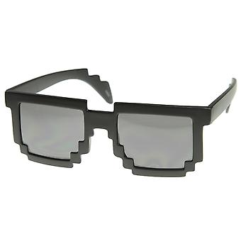 Pixelated 8-Bit Black Sunglasses CPU Gamer Geek Novelty Glasses