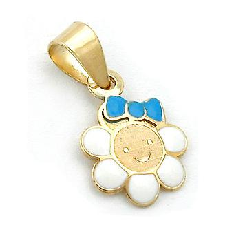 Pendants gold 375 children jewelry pendant, flower with face, 9 KT GOLD