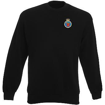 HMS trumpetare broderad logo - officiell Royal Navy Heavyweight tröja