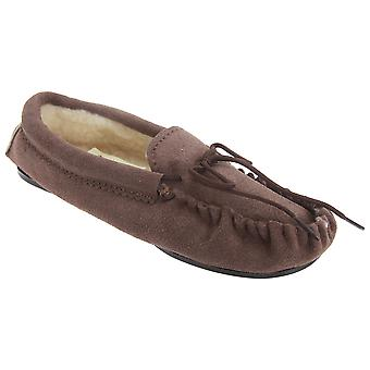 Mokkers Kids Boys Sheridan Moccasin Real Suede Slippers
