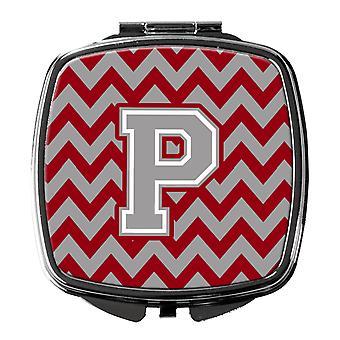 Buchstaben P Chevron Purpur und grau Taschenspiegel