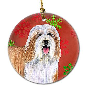Bearded Collie Red Snowflake Holiday Christmas Ceramic Ornament LH9330