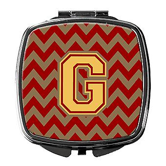 Letter G Chevron Garnet and Gold  Compact Mirror