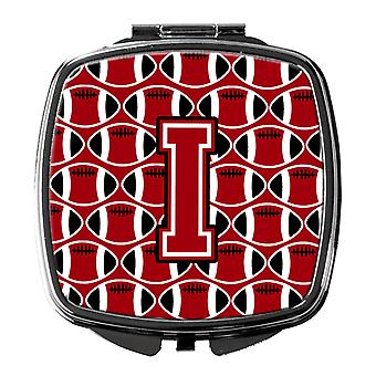 Letter I Football Red, Black and White Compact Mirror