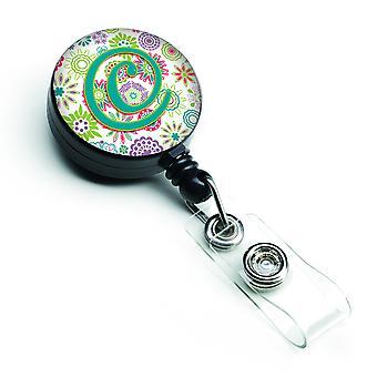Lettera C fiori rosa Teal verde iniziale retrattile Badge Reel