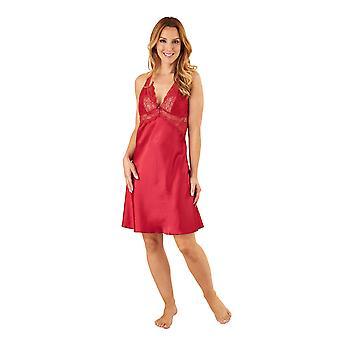 Slenderella GL8731 Women's Red Satin Long Gown Chemise Set