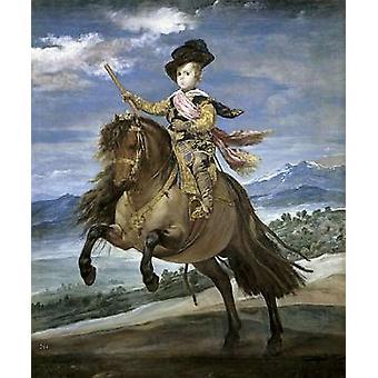 Prins Carlos Balthasar på hesteryg plakat Print af Diego Velazquez