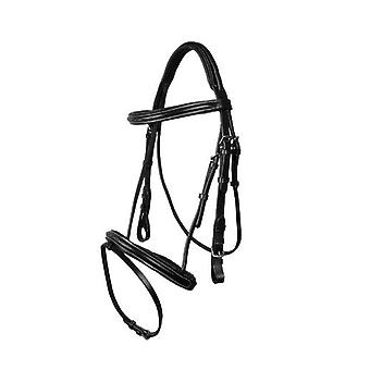 QHP Luxury Stitched Bridle Black Shet