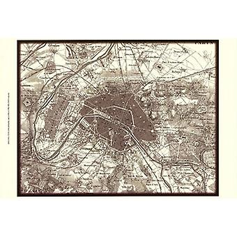 Sepia Map Of Paris Poster Print by Vision studio (19 x 13)