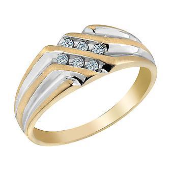 Mens Diamond Wedding Band 1/8 Carat (ctw I2-I3) in 10K Yellow Gold