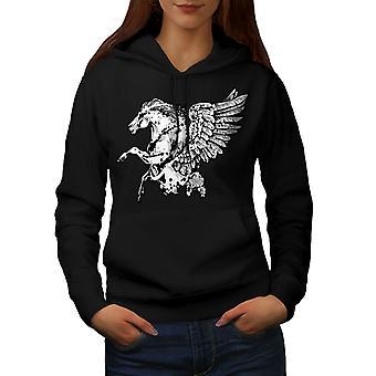 Fantasy Pegasus paard vrouwen BlackHoodie | Wellcoda