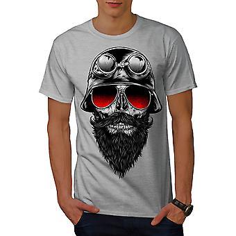 Skull Beard Hippie Men GreyT-shirt | Wellcoda