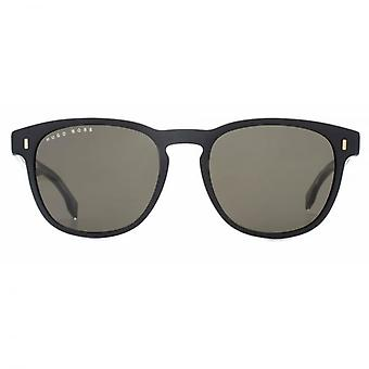 Hugo Boss Classic Keyhole Round Sunglasses In Matte Black