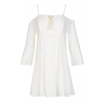 Tunic long blouse off shoulder white Aniston