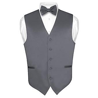 Men's Dress Vest & BowTie Solid Bow Tie Set for Suit or Tux