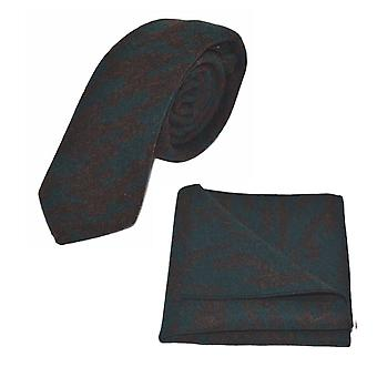 Lyxiga arabiska mörkt Teal mönster Tie & Pocket Square Set