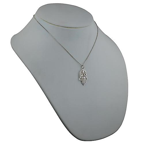 Silver 29x18mm Hand of Fatima Pendant with a curb Chain 18 inches
