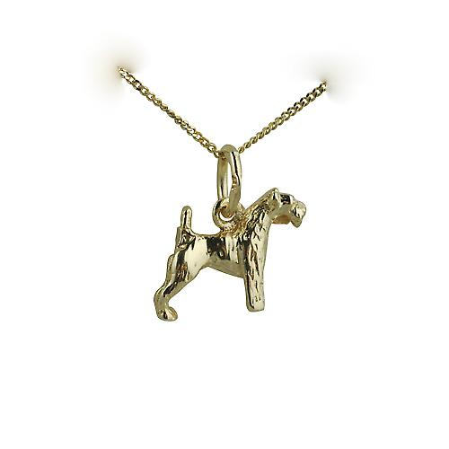 9ct Gold 10x12mm Airedale Terrier Pendant with a curb Chain 18 inches