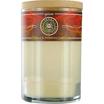 Opium Candle By Terra Essential Scents Massage Soy Candle 12 Oz Tumbler. An Alluring & Sensual Blend With Garnet Gemstone. Burns Approx. 30+ Hours