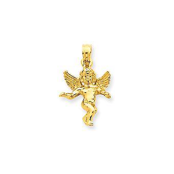 Amarillo de 14k oro sólido pulido Angel colgante - 1,9 gramos - medidas 15x13mm
