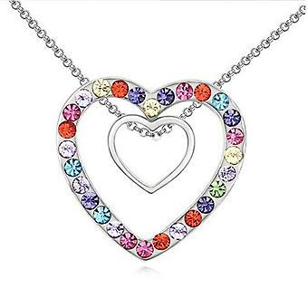 Dubbla Silver hjärtan hänge Crystal Multi färgade stenar regnbåge halsband