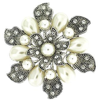 Brooches Store Silver and Pearl Vintage Bridal Leafy Flower Brooch