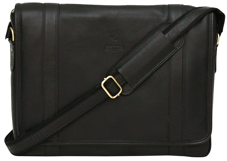 Genuine Leather Messenger Shoulder Bag With 13