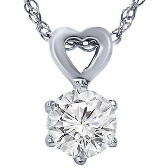 3 / 8ct solitario corazón colgante 14K oro blanco