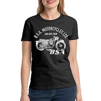 BSA motorcykler 500 OHV TWIN kvinders sort T-shirt