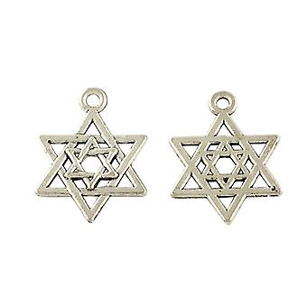 Packet 20 x Antique Silver Tibetan 21mm Star of David Charm/Pendant Y09105