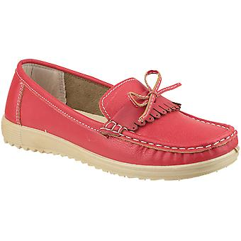 Amblers Ladies Elba Slip On Stylish Lace Summer Loafer Red