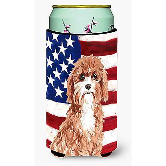 Patriotic USA Cavapoo Tall Boy Beverage Insulator Hugger