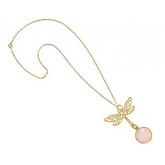 Necklace - pendants - silver - gold plated - Dragonfly - Rose Quartz - pink - 45 cm