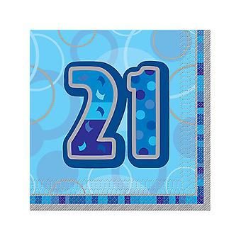 Birthday Glitz Blue - 21st Birthday - Luncheon Napkins