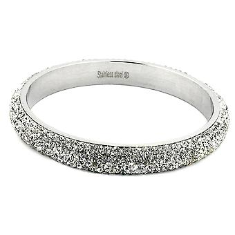 Stainless steel bracelet Frost silver 6 glass blocks of rows of white Stainless Steel
