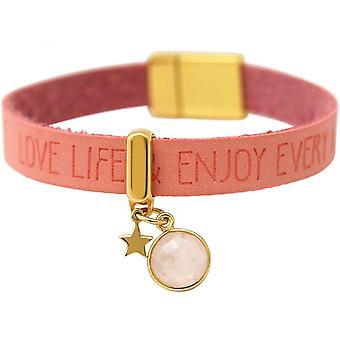 Damen - Armband - STAR - Stern - 925 Silber - Vergoldet - WISHES - Rosa - Pink - Rosenquarz - Magnetverschluss