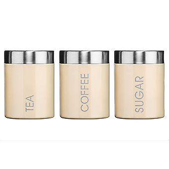 Kabalo Set of 3 Cream Tea Coffee & Sugar Canisters Kitchen Storage Containers Jars Pots (10cm x 12cm each)