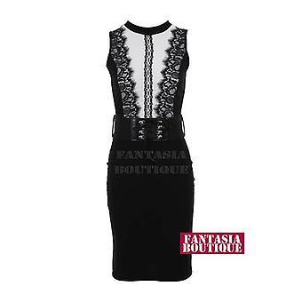 Новые дамы сетки шаблон вставки кружева Bodycon женщин платье