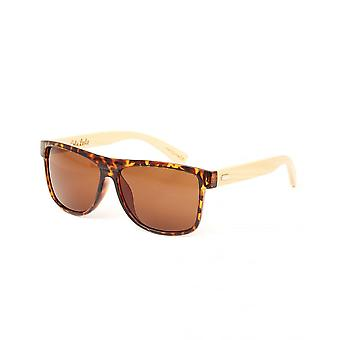 Colin Leslie Unisex Over Size Retro Sunglasses Black Frame Bamboo Arms With Brown Lens