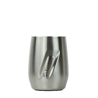 EcoVessel PORT Wine Tumbler with Lid - Silver Express Brushed 10 oz