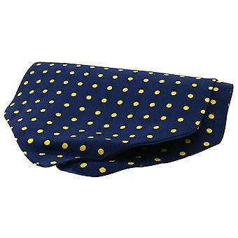 David Van Hagen Twill Silk Self Tie Cravat - Navy/Yellow