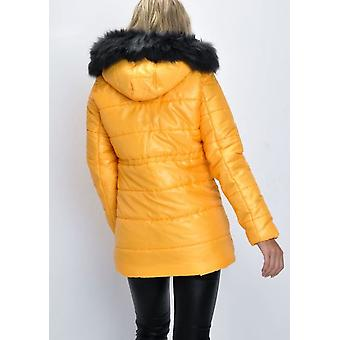 Black Faux Fur Hooded Padded Longline Puffer Coat Yellow