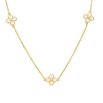 Long CZ Flower Quartz Necklace Gold 925 Sterling Silver Chain Boxed Gift Strand
