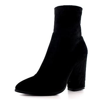 Womens Block Heel Pointed Toe Biker Fashion Trendy Velvet Ankle Boots UK 3-10