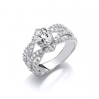 Cavendish französische Silber und Zirkonia Twist Band Marquise Ring