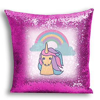 i-Tronixs - Unicorn Printed Design Pink Sequin Cushion / Pillow Cover with Inserted Pillow for Home Decor - 3