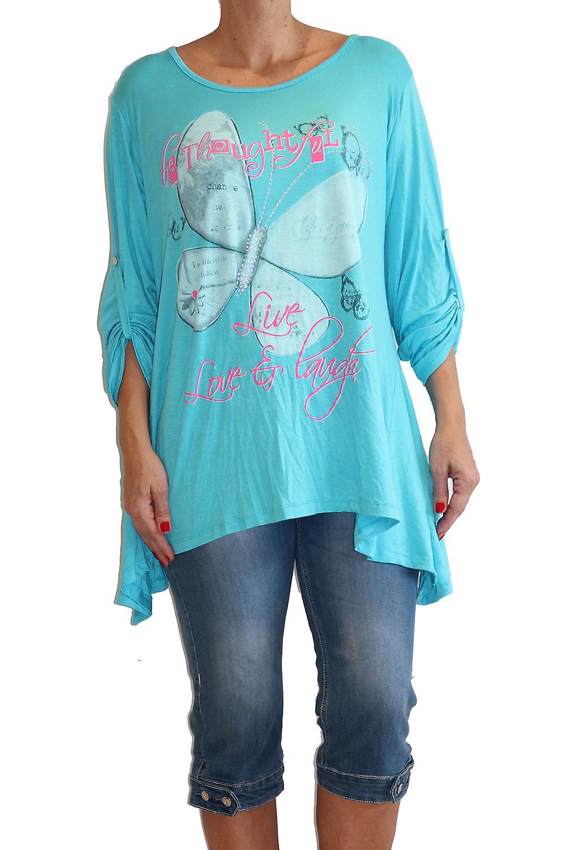 Waooh - Fashion - Butterfly Print Tunic long sleeves and rhinestone