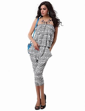 Waooh - Fashion - long light tight top pant suit with flying skull motifs